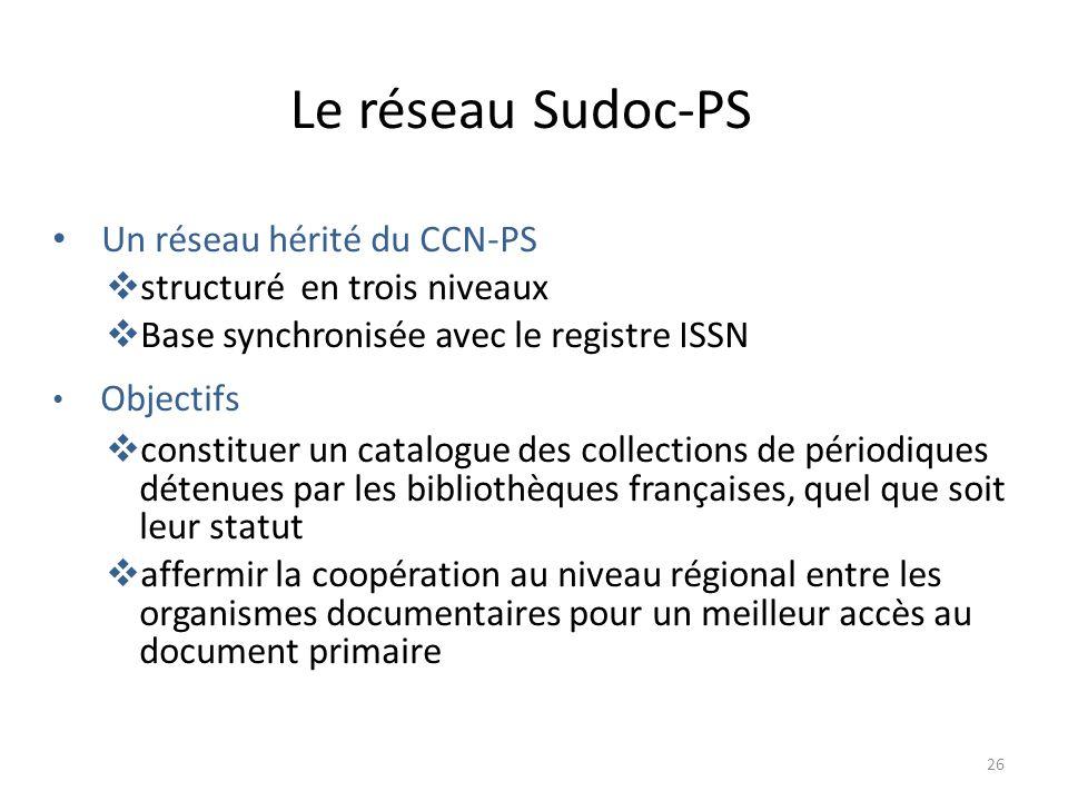 Le réseau Sudoc-PS Un réseau hérité du CCN-PS
