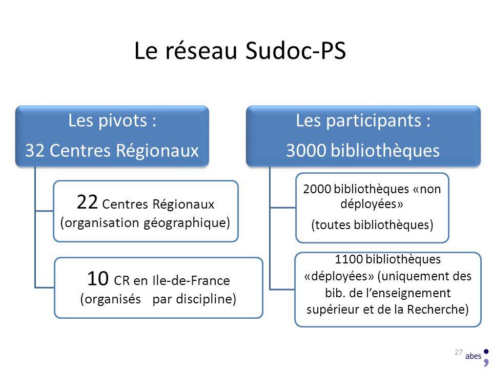 Le réseau Sudoc-PS 22 Centres Régionaux (organisation géographique)