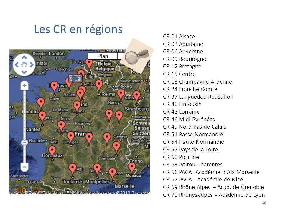 Les CR en régions CR 01 Alsace