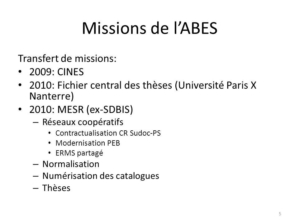 Missions de l'ABES Transfert de missions: 2009: CINES