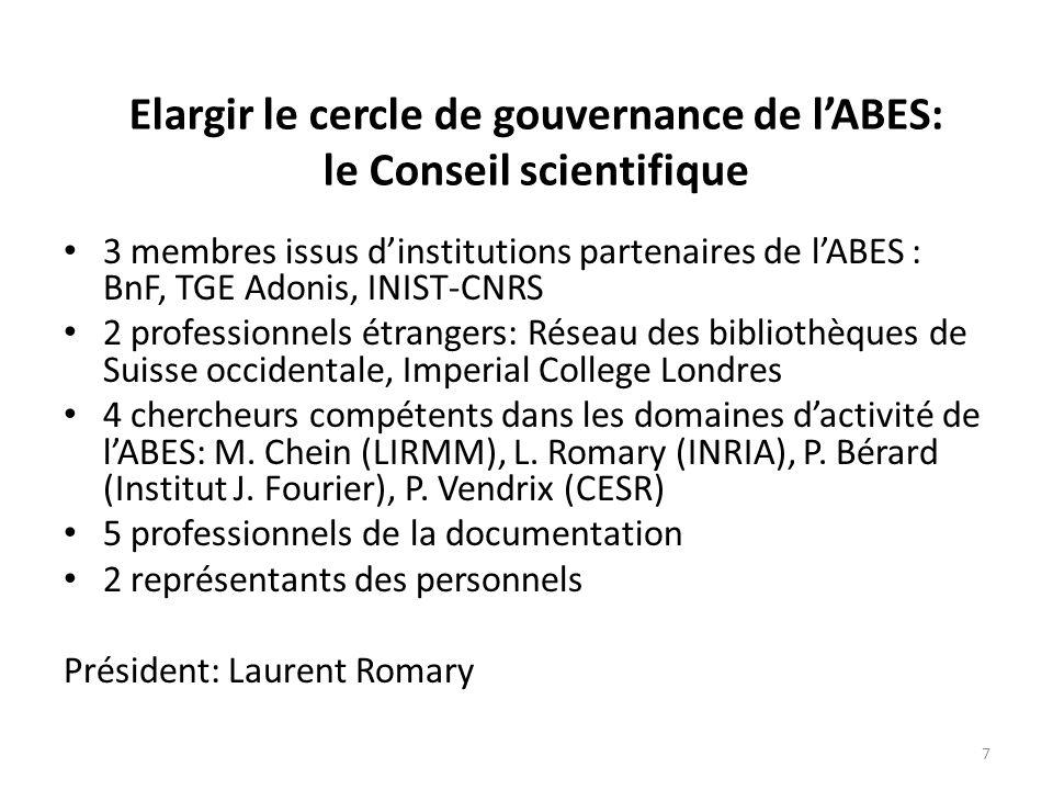 Elargir le cercle de gouvernance de l'ABES: le Conseil scientifique