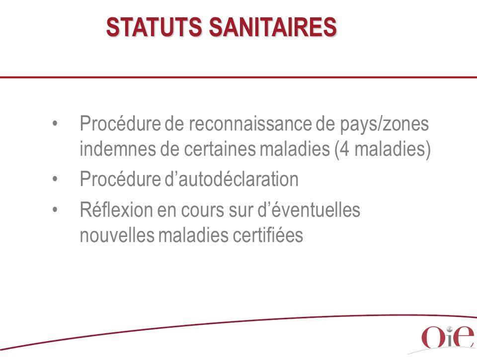 STATUTS SANITAIRES Procédure de reconnaissance de pays/zones indemnes de certaines maladies (4 maladies)