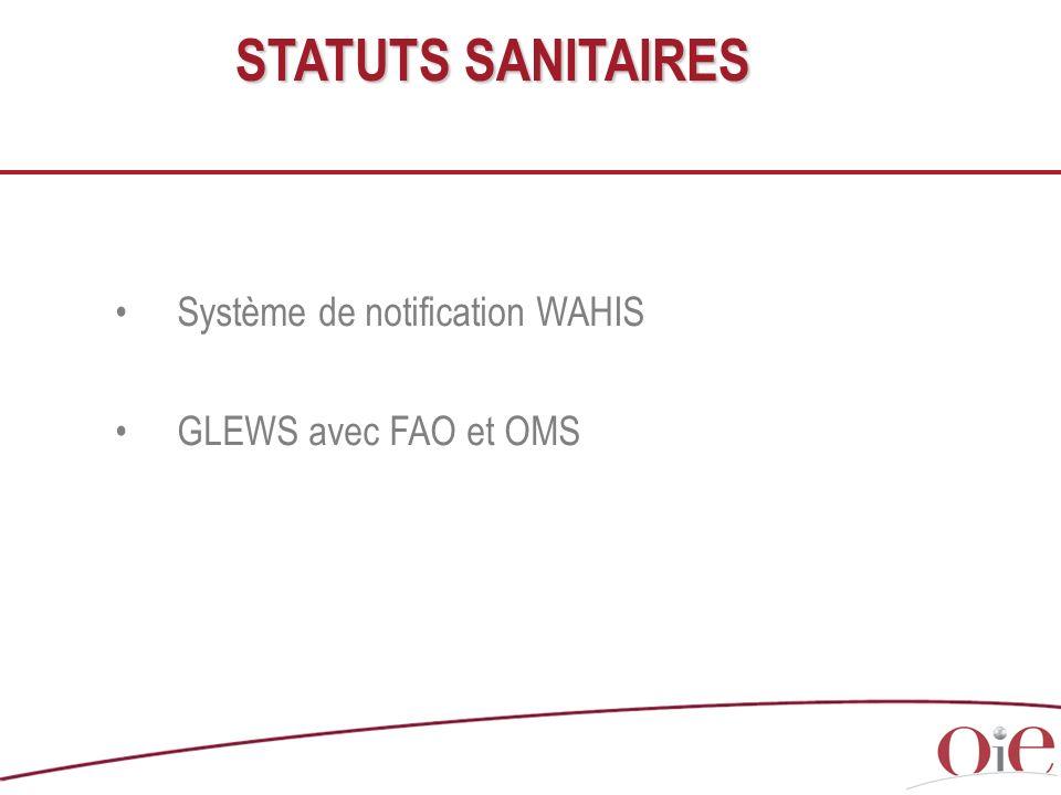 STATUTS SANITAIRES Système de notification WAHIS GLEWS avec FAO et OMS