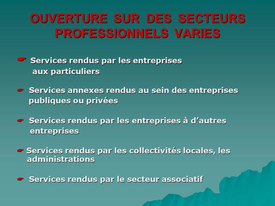 OUVERTURE SUR DES SECTEURS PROFESSIONNELS VARIES