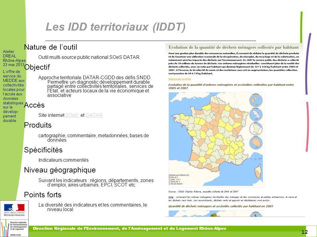 Les IDD territoriaux (IDDT)