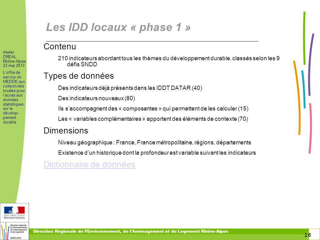Les IDD locaux « phase 1 » Contenu Types de données Dimensions