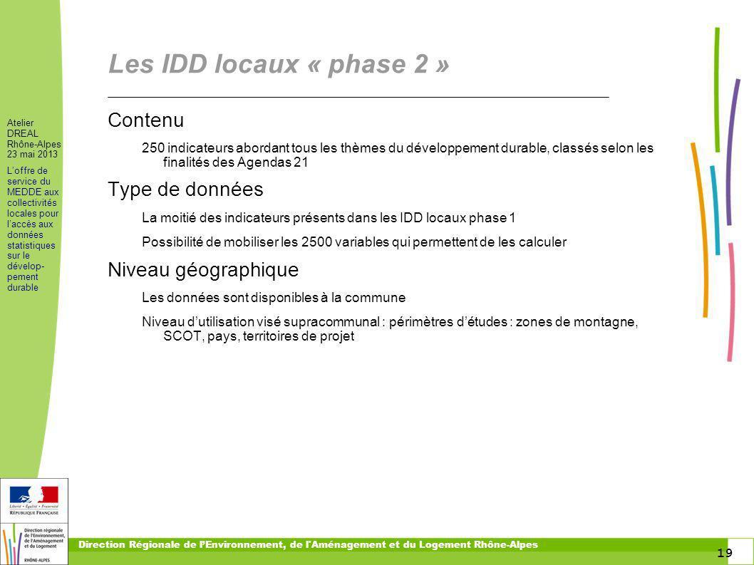 Les IDD locaux « phase 2 » Contenu Type de données Niveau géographique