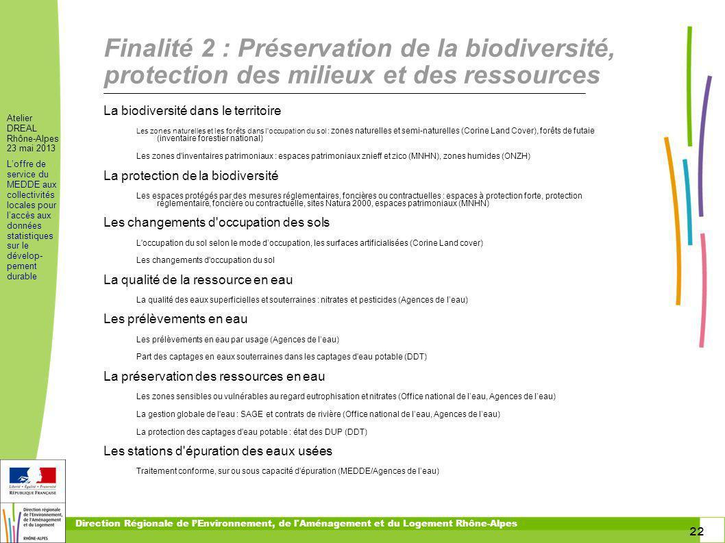 toitototototoot Finalité 2 : Préservation de la biodiversité, protection des milieux et des ressources.