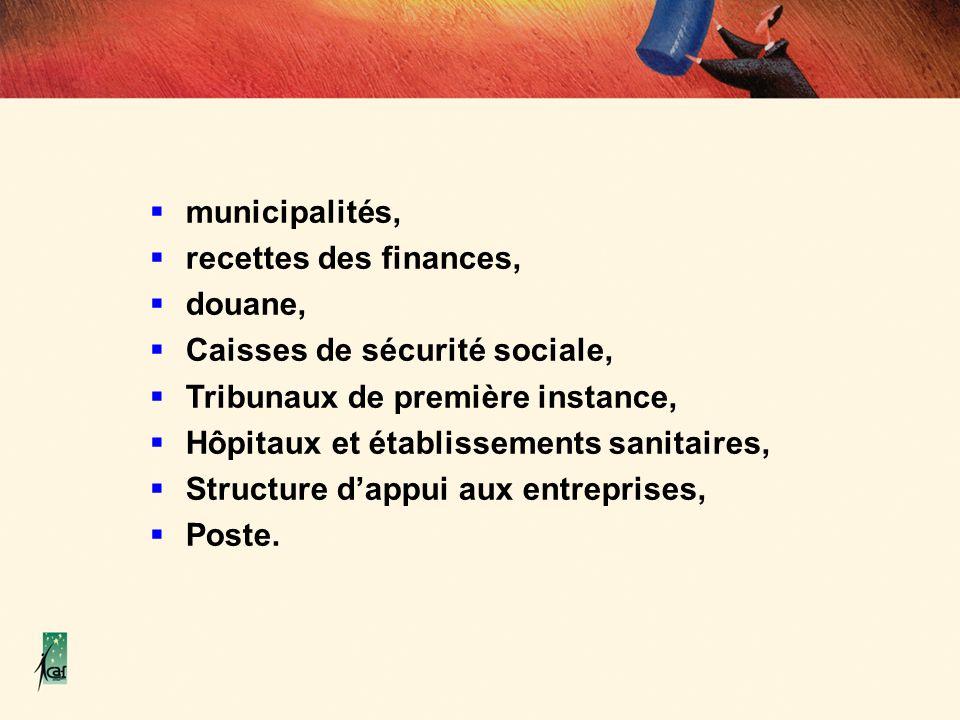 municipalités, recettes des finances, douane, Caisses de sécurité sociale, Tribunaux de première instance,
