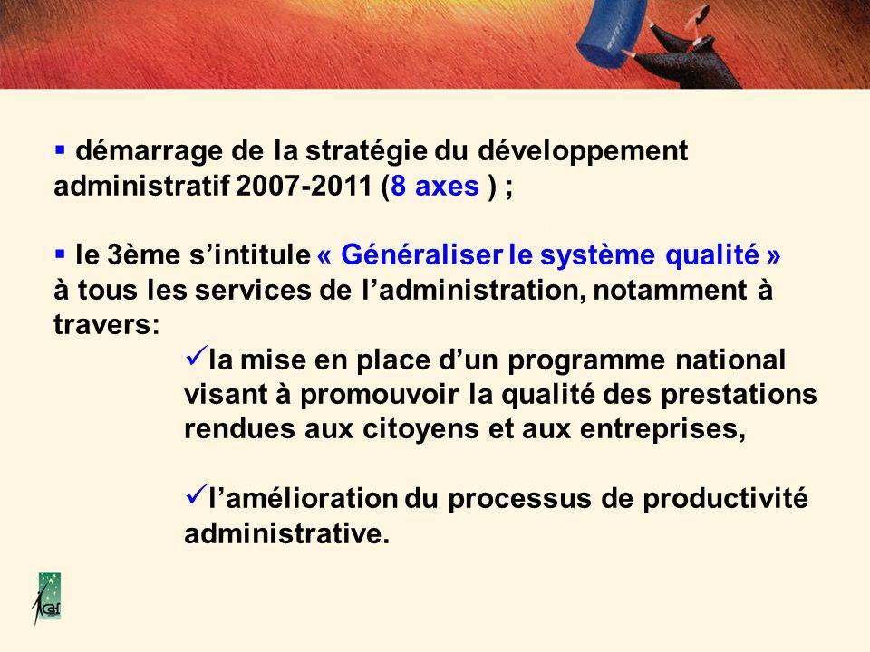 démarrage de la stratégie du développement administratif 2007-2011 (8 axes ) ;