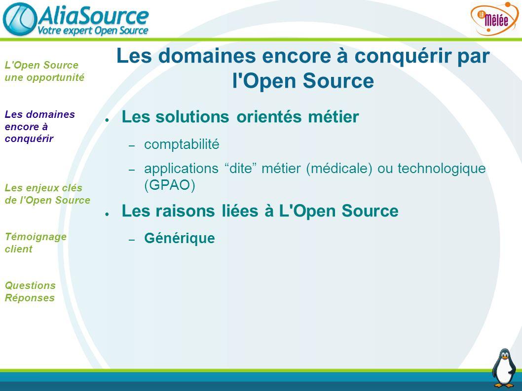 Les domaines encore à conquérir par l Open Source