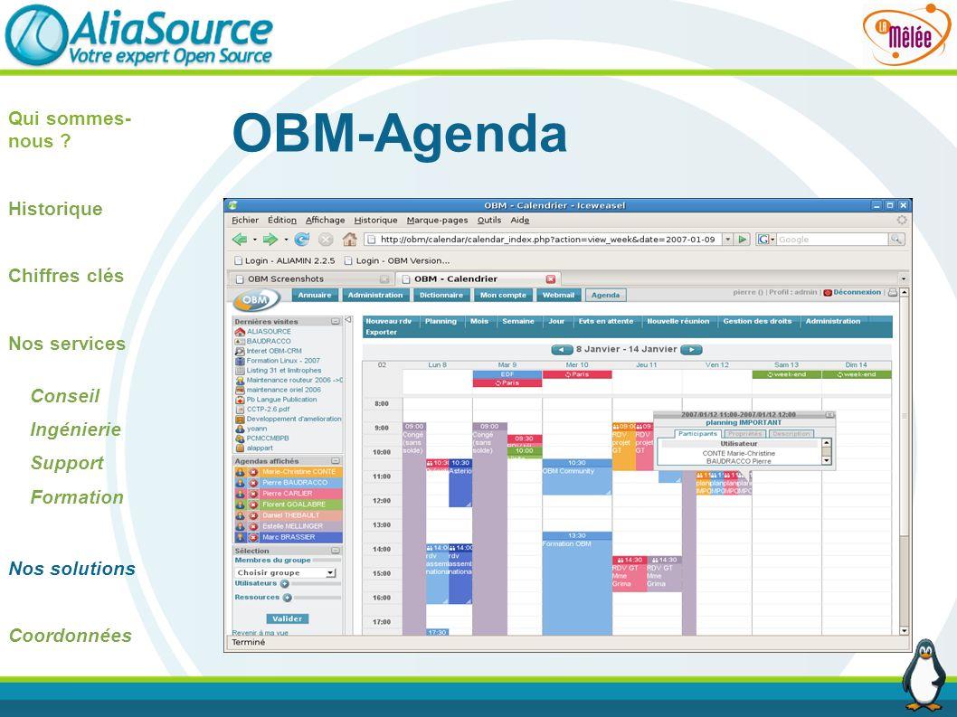 OBM-Agenda Qui sommes-nous Historique Chiffres clés Nos services
