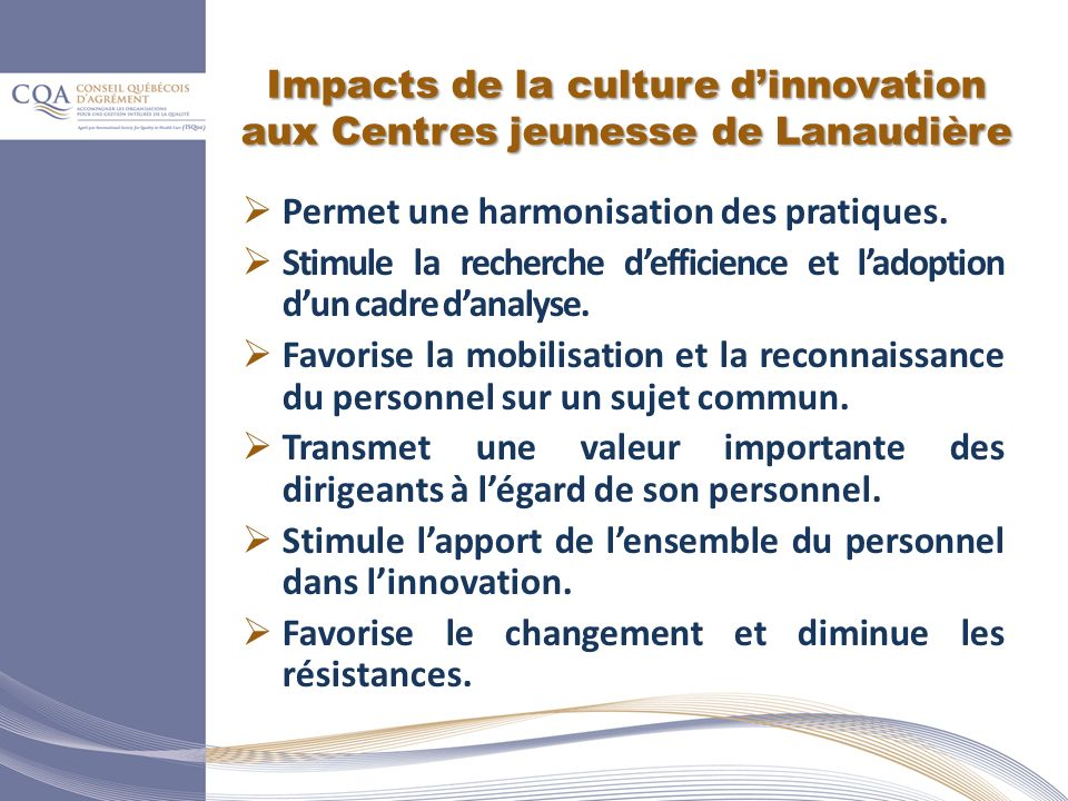 Impacts de la culture d'innovation aux Centres jeunesse de Lanaudière