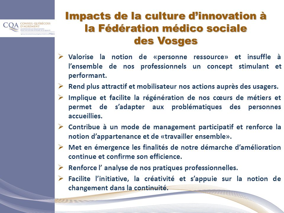 Impacts de la culture d'innovation à la Fédération médico sociale des Vosges