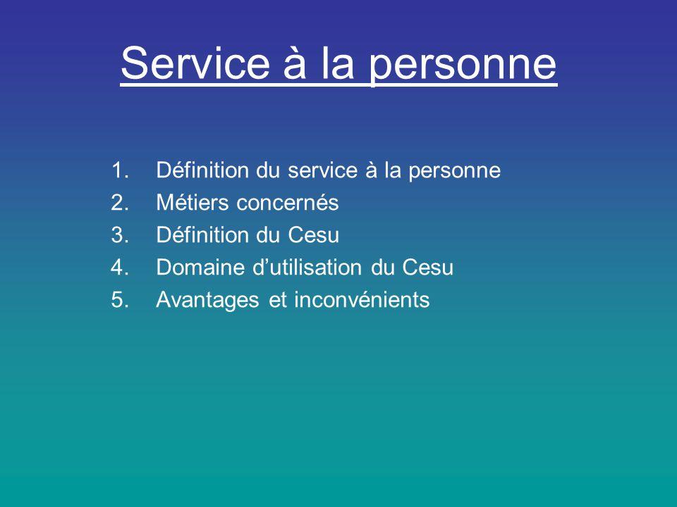 Service à la personne Définition du service à la personne