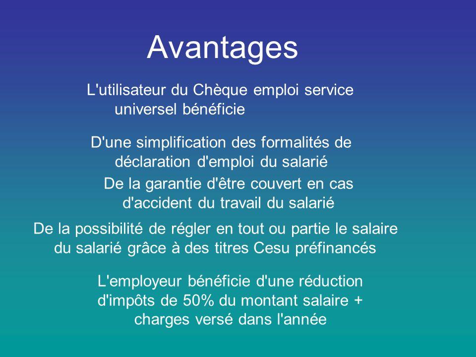 Avantages L utilisateur du Chèque emploi service universel bénéficie