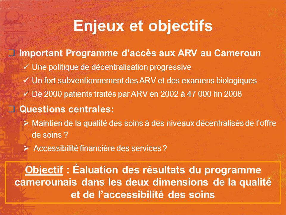 Enjeux et objectifs Important Programme d'accès aux ARV au Cameroun. Une politique de décentralisation progressive.