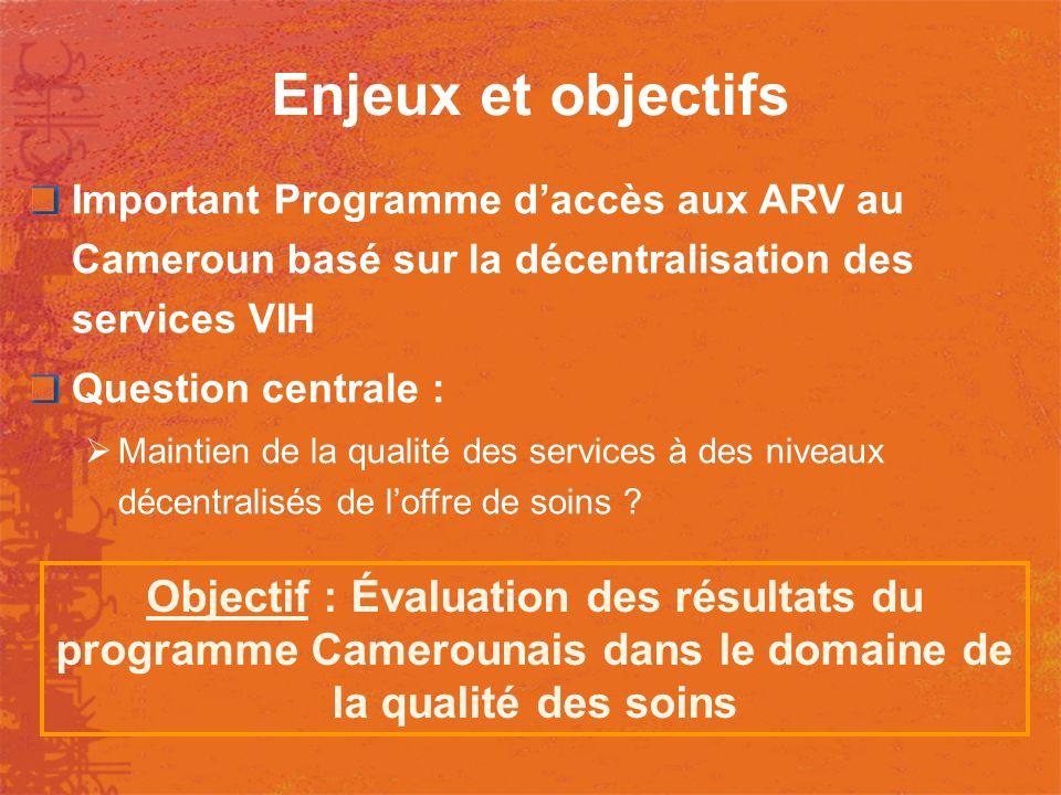 Enjeux et objectifs Important Programme d'accès aux ARV au Cameroun basé sur la décentralisation des services VIH.
