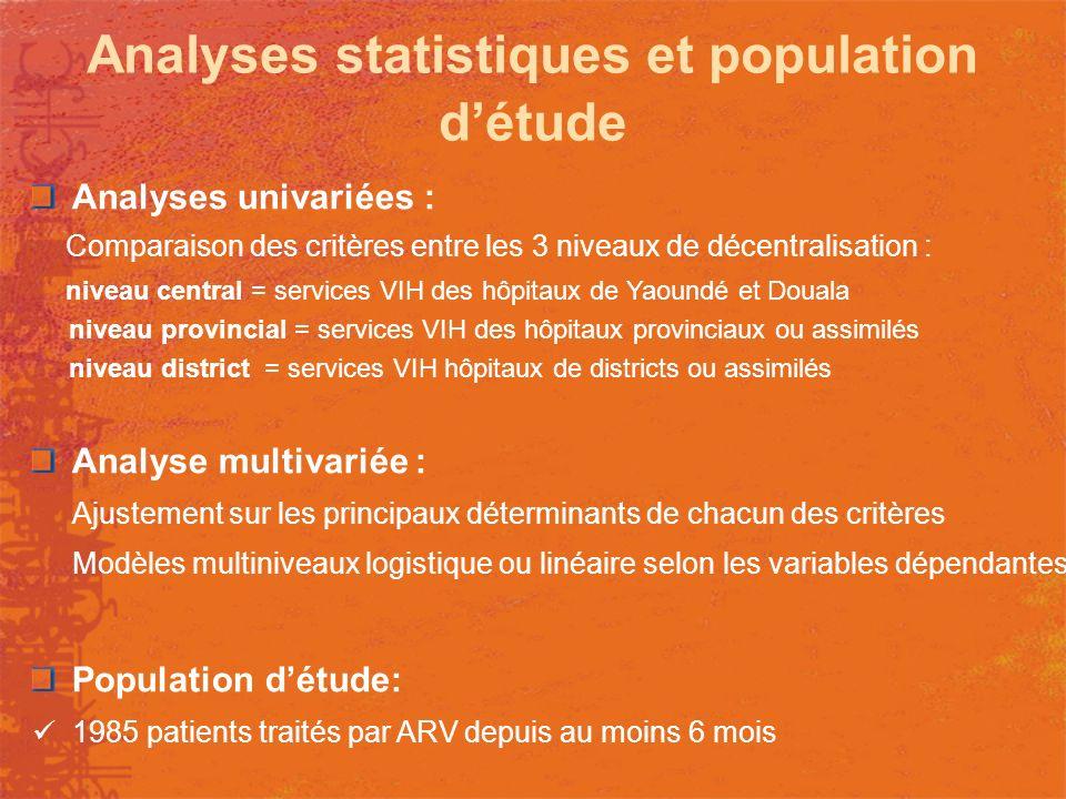 Analyses statistiques et population d'étude