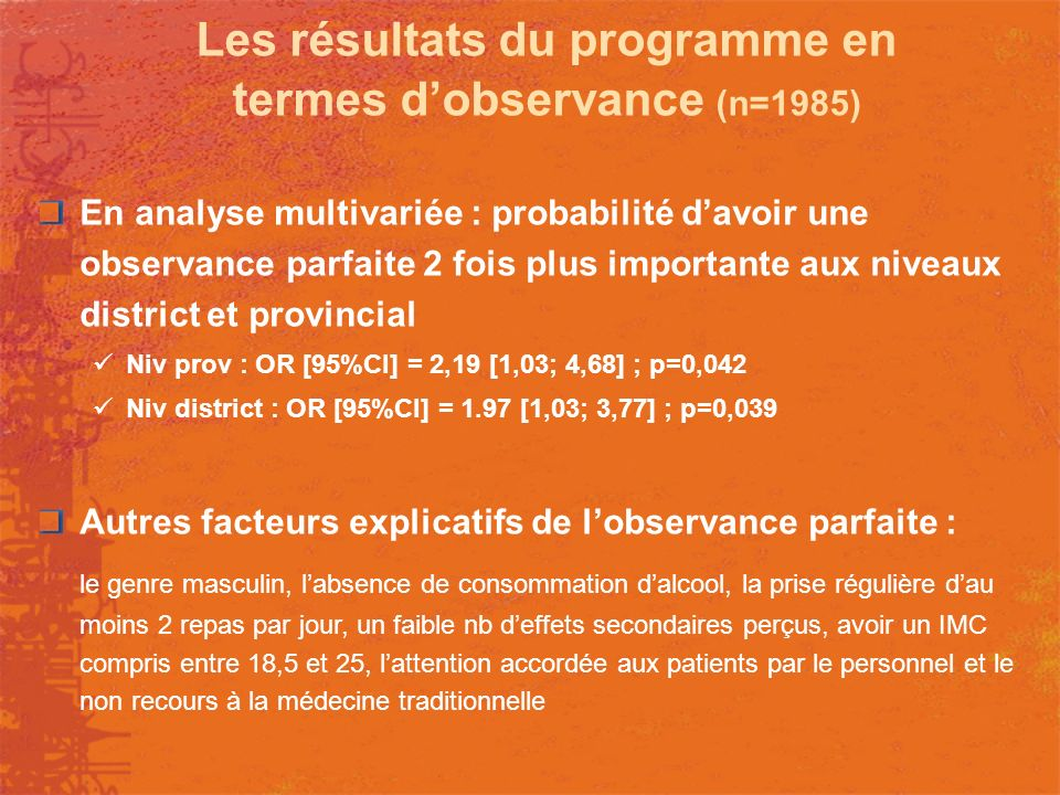 Les résultats du programme en termes d'observance (n=1985)