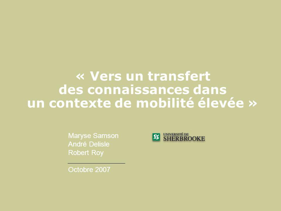 « Vers un transfert des connaissances dans un contexte de mobilité élevée »