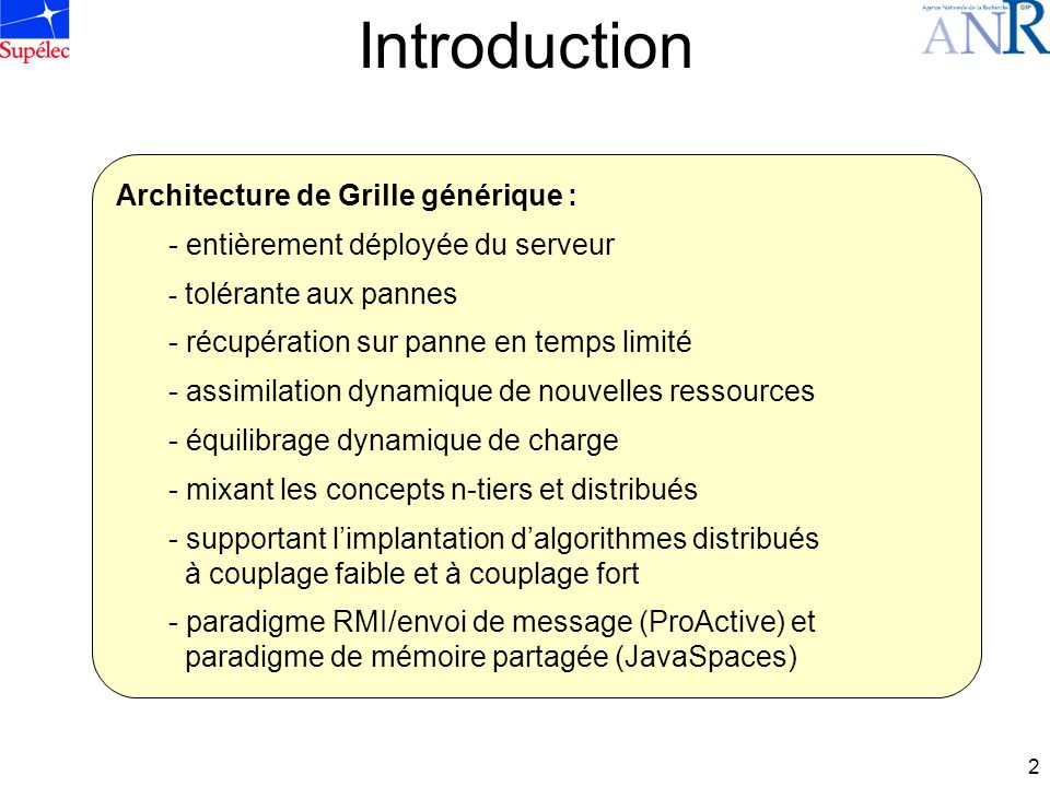 Introduction Architecture de Grille générique :