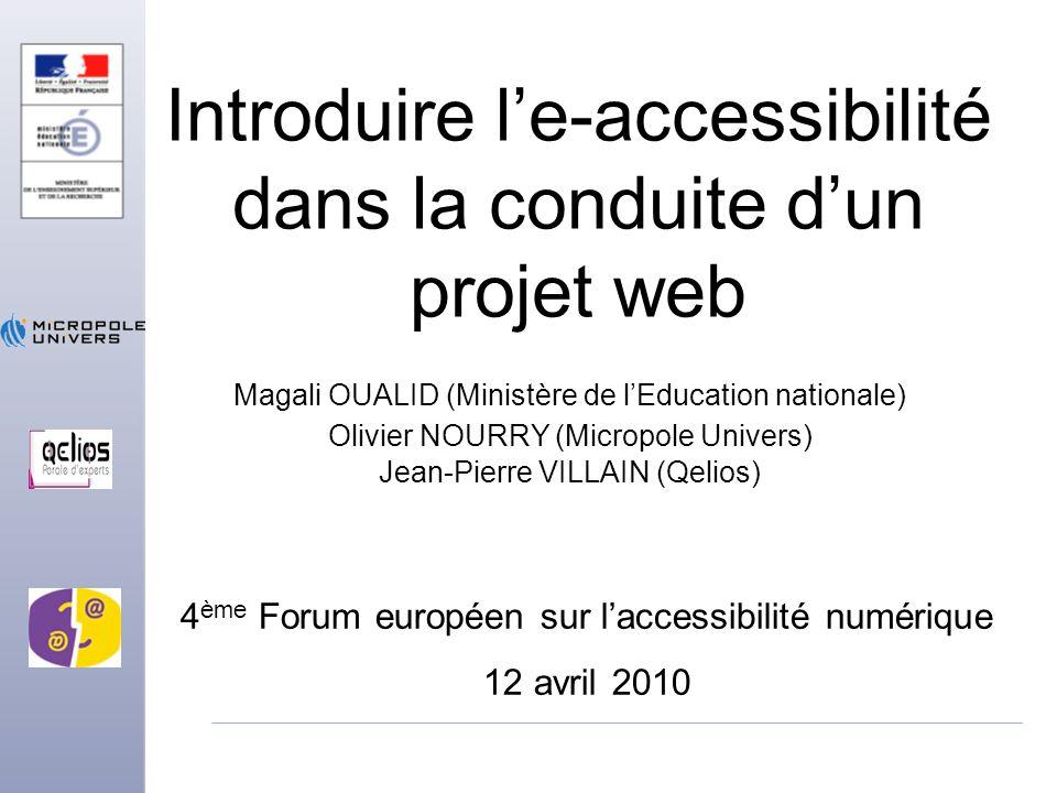 Introduire l'e-accessibilité dans la conduite d'un projet web
