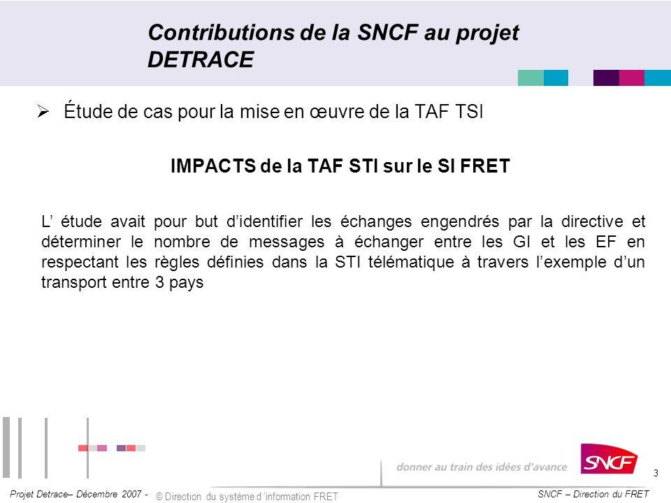 Contributions de la SNCF au projet DETRACE