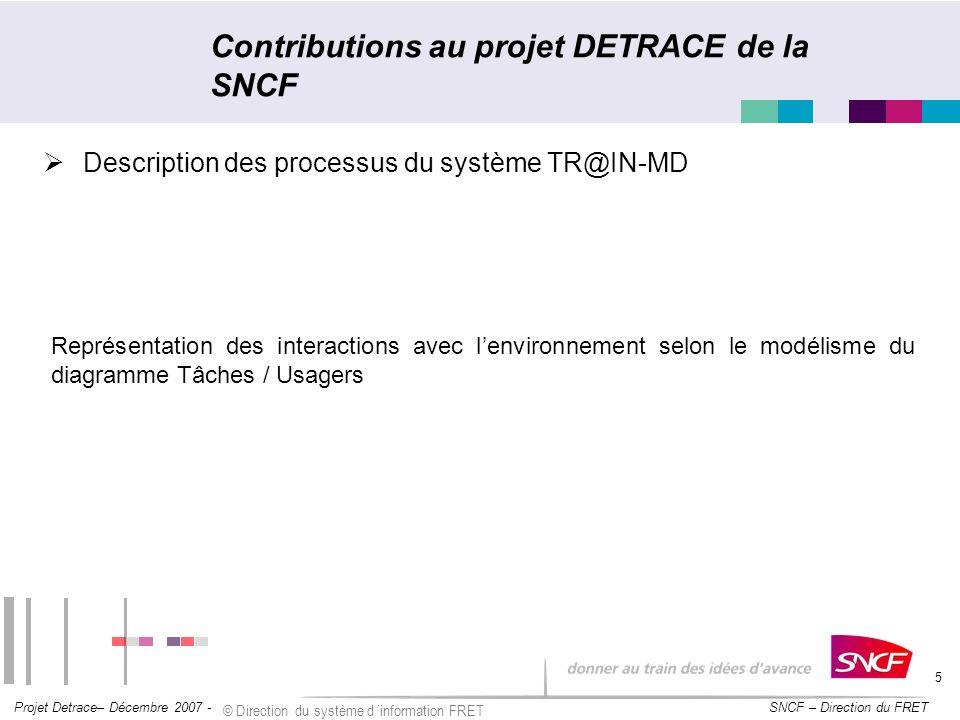 Contributions au projet DETRACE de la SNCF