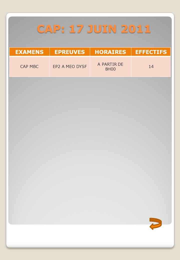 CAP: 17 JUIN 2011 EXAMENS EPREUVES HORAIRES EFFECTIFS CAP MBC