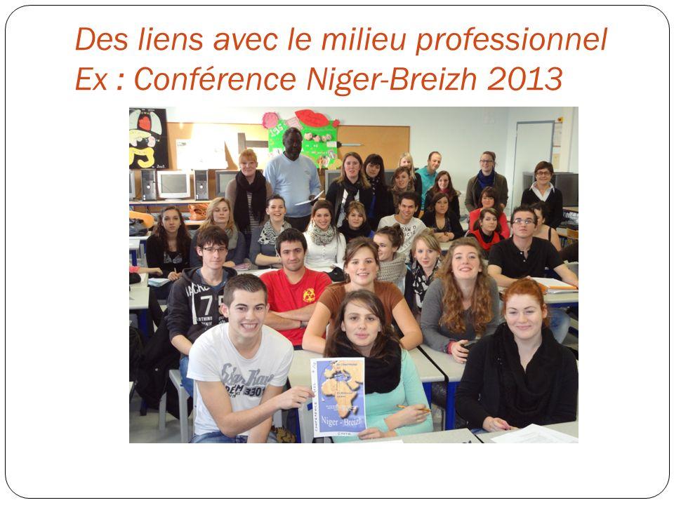 Des liens avec le milieu professionnel Ex : Conférence Niger-Breizh 2013