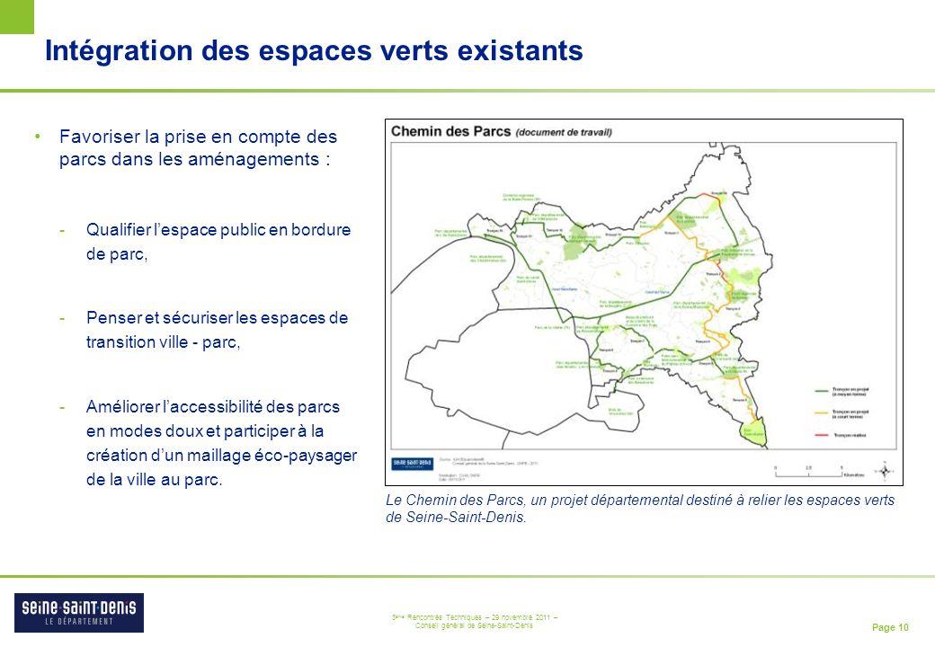 Intégration des espaces verts existants