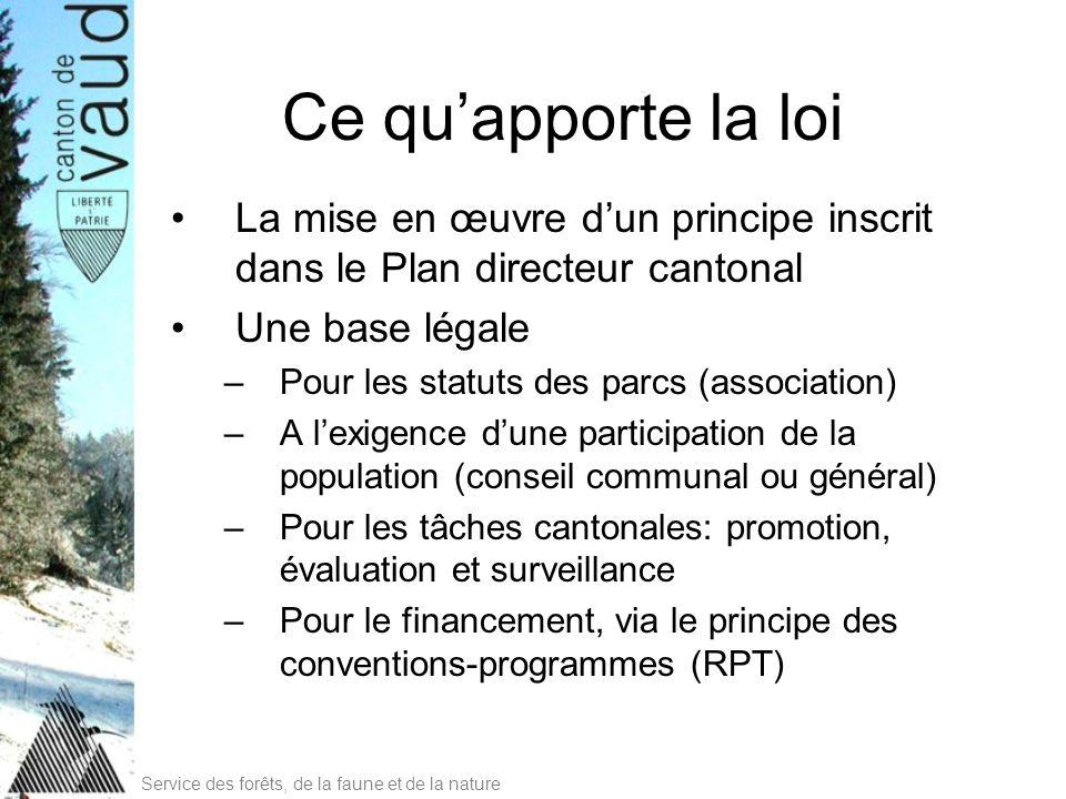 Ce qu'apporte la loi La mise en œuvre d'un principe inscrit dans le Plan directeur cantonal. Une base légale.