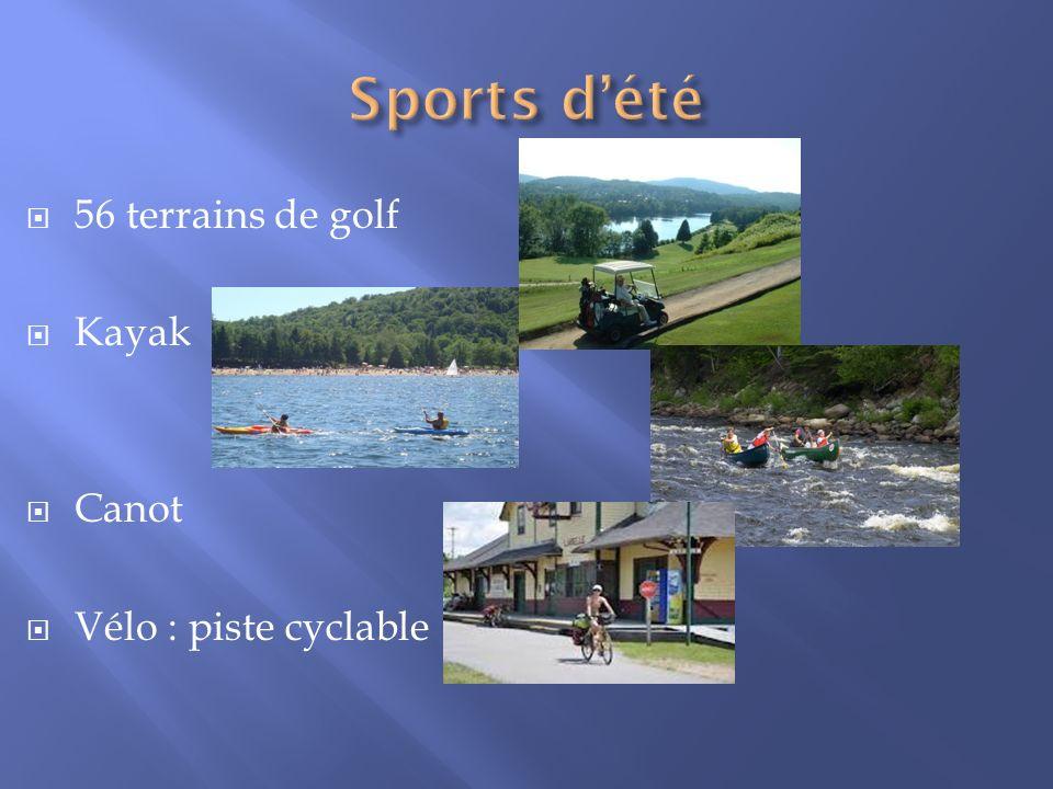 Sports d'été 56 terrains de golf Kayak Canot Vélo : piste cyclable
