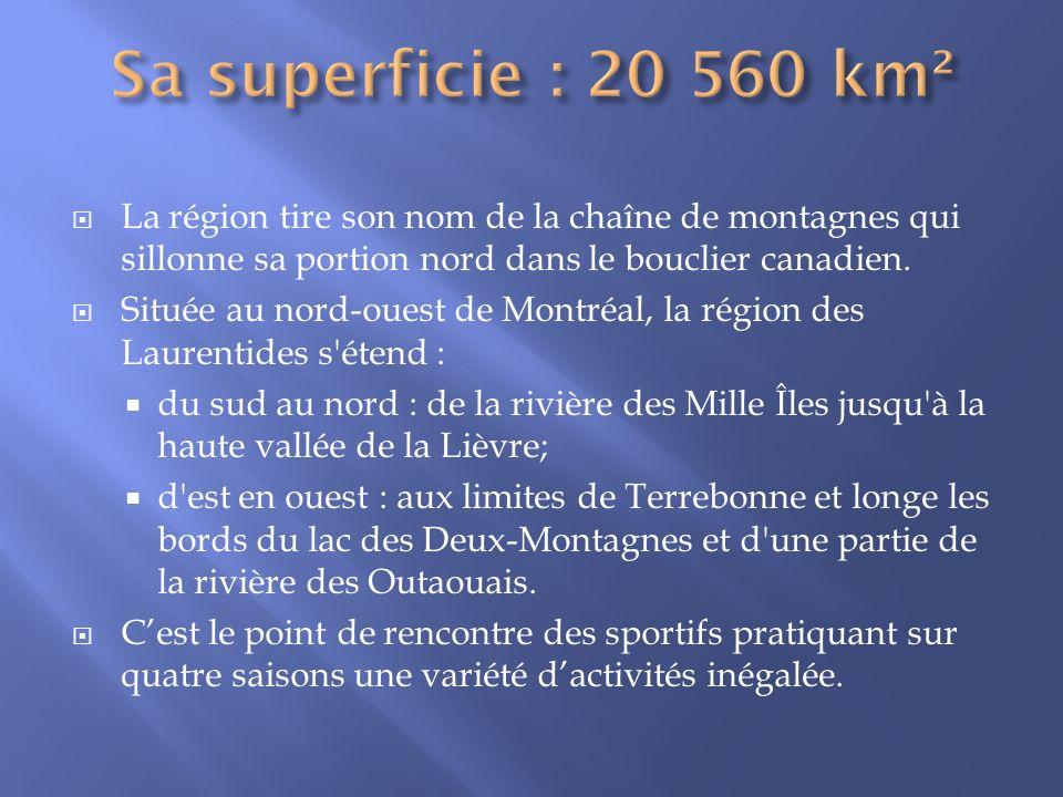 Sa superficie : 20 560 km² La région tire son nom de la chaîne de montagnes qui sillonne sa portion nord dans le bouclier canadien.