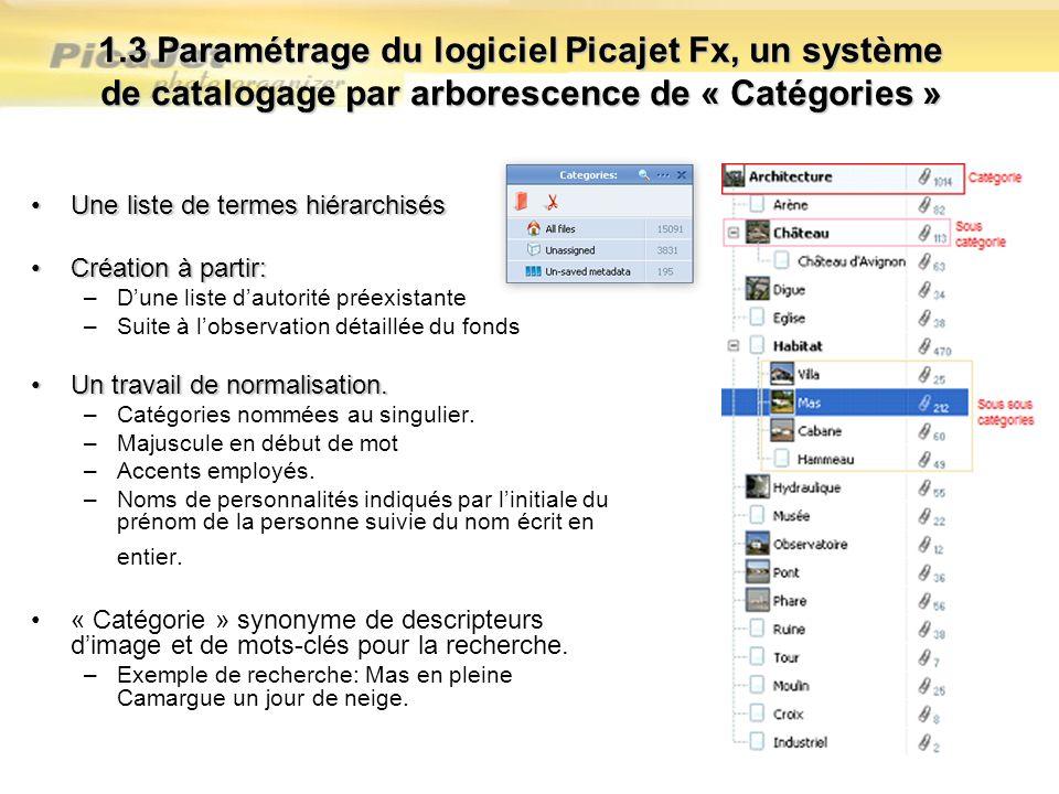 1.3 Paramétrage du logiciel Picajet Fx, un système de catalogage par arborescence de « Catégories »
