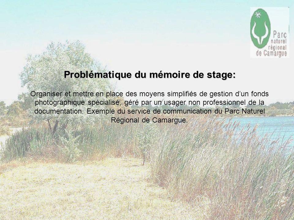 Problématique du mémoire de stage: Organiser et mettre en place des moyens simplifiés de gestion d'un fonds photographique spécialisé, géré par un usager non professionnel de la documentation.