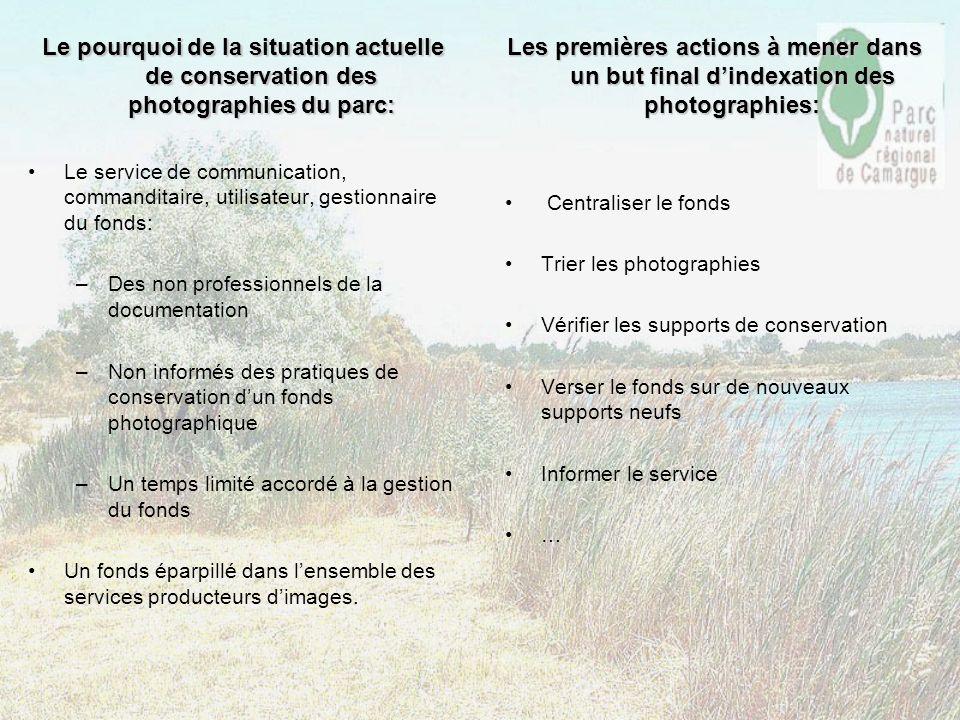 Le pourquoi de la situation actuelle de conservation des photographies du parc:
