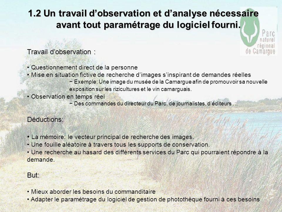 1.2 Un travail d'observation et d'analyse nécessaire avant tout paramétrage du logiciel fourni.