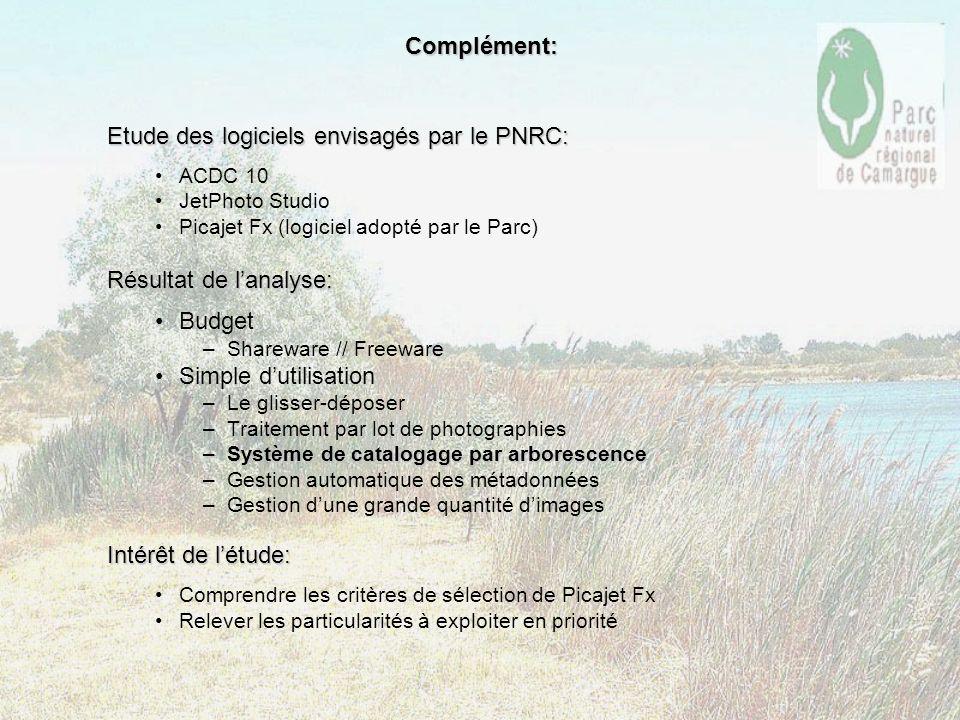 Etude des logiciels envisagés par le PNRC: