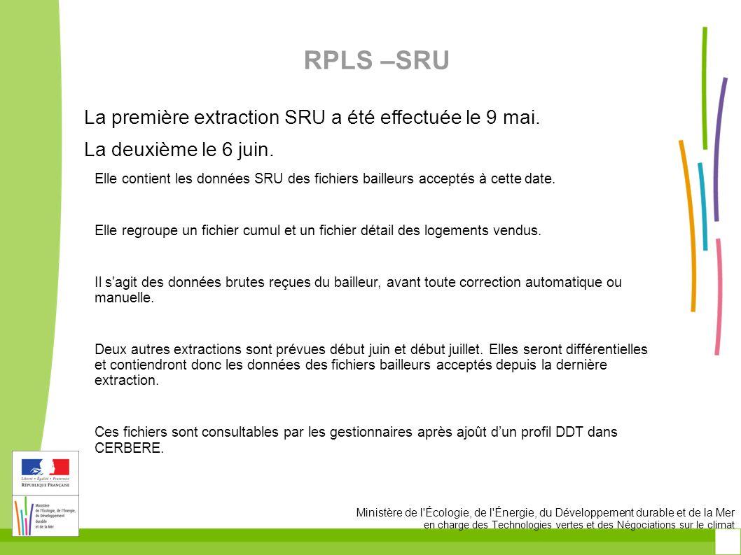 RPLS –SRU La première extraction SRU a été effectuée le 9 mai.