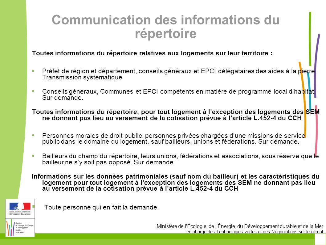Communication des informations du répertoire