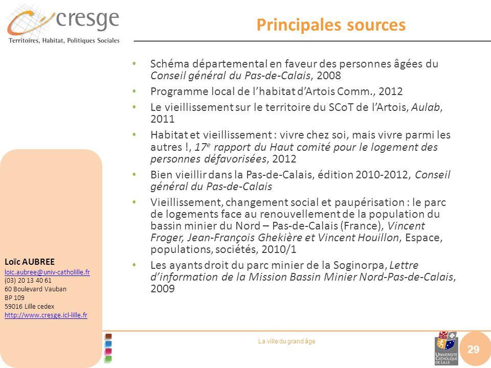 Principales sourcesSchéma départemental en faveur des personnes âgées du Conseil général du Pas-de-Calais, 2008.