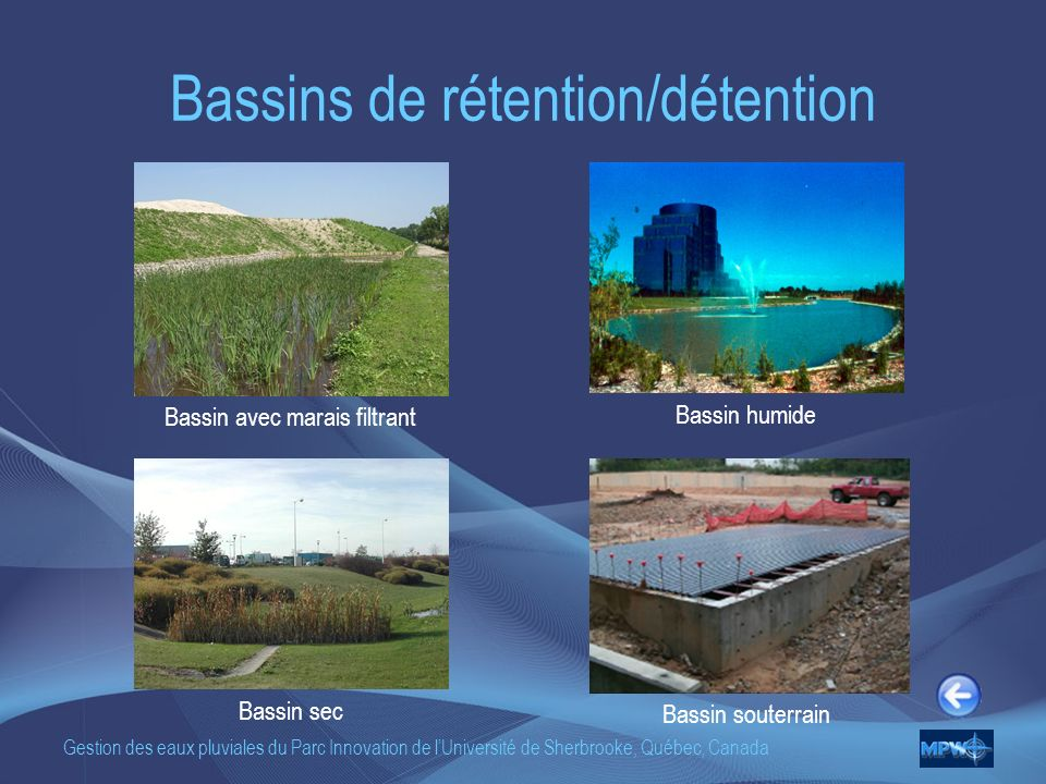 Bassins de rétention/détention