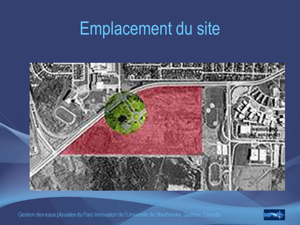 Emplacement du site Gestion des eaux pluviales du Parc Innovation de l'Université de Sherbrooke, Québec, Canada.