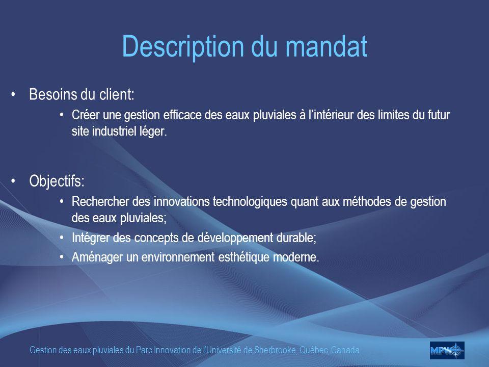 Description du mandat Besoins du client: Objectifs: