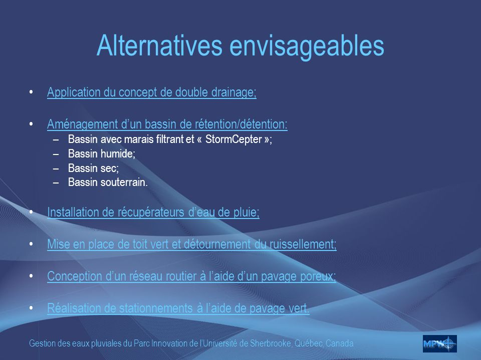 Alternatives envisageables
