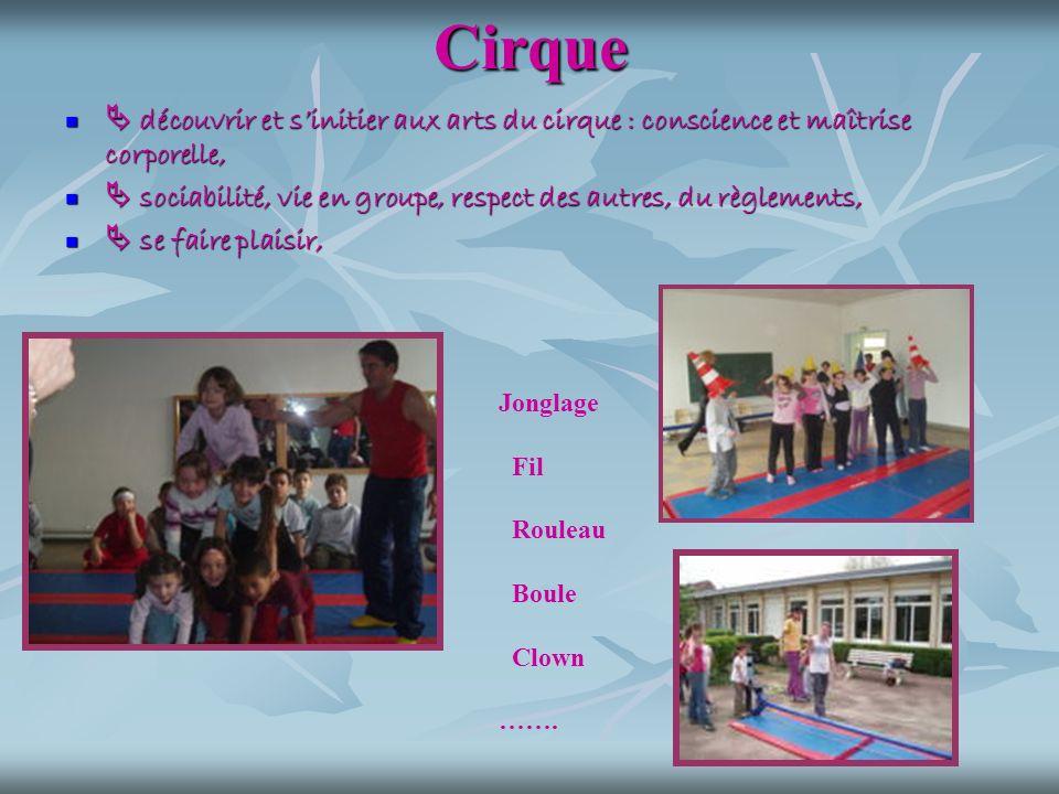 Cirque  découvrir et s'initier aux arts du cirque : conscience et maîtrise corporelle,