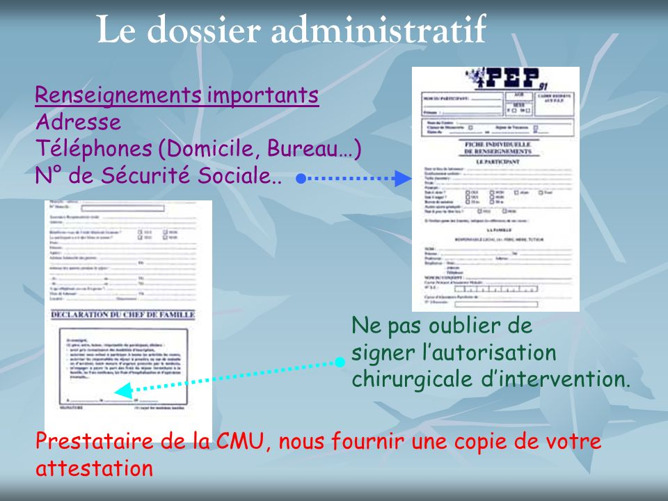 Le dossier administratif