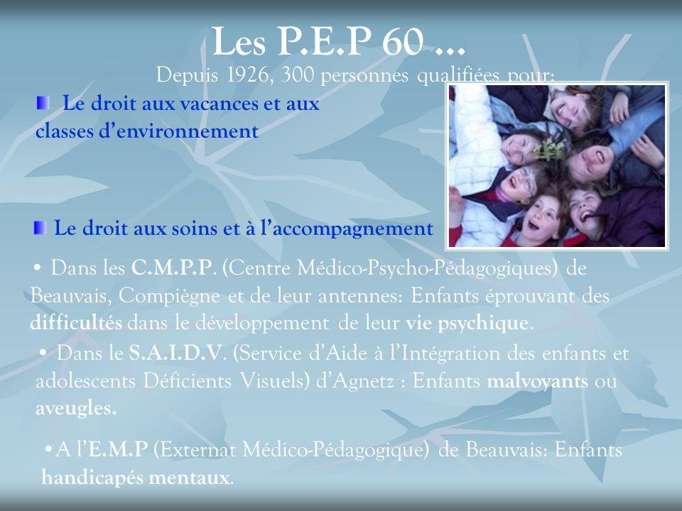Les P.E.P 60 … Depuis 1926, 300 personnes qualifiées pour: